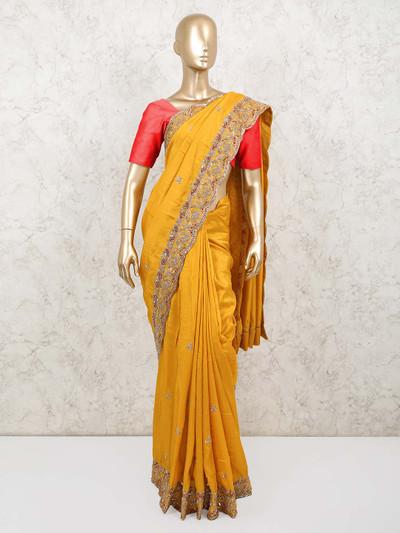 Latest mustard colour muga silk saree for wedding