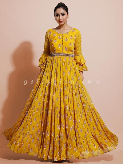 Latest mustard yellow indo western dress for party in georgette