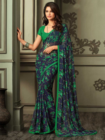 Latest navy printed georgette saree for festival
