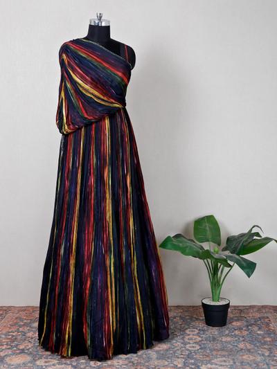 Latest navy silk partywear gown