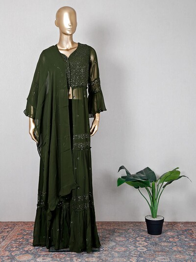 Latest olive georgetee palazzo suit
