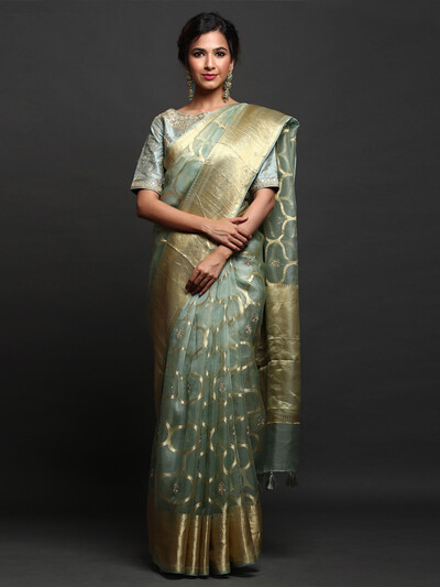 Latest Organza Silk party wear Saree with readymade blouse