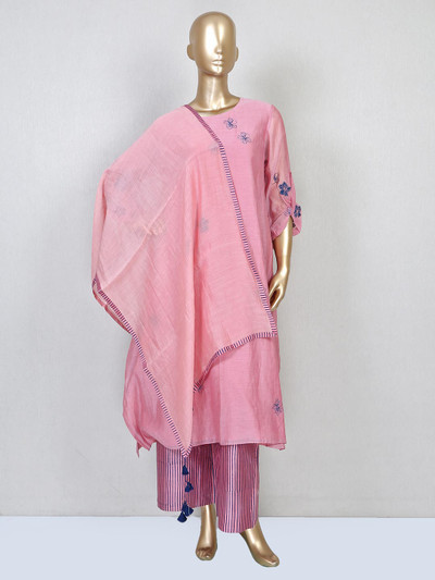 Latest pant style pink cotton silk suit