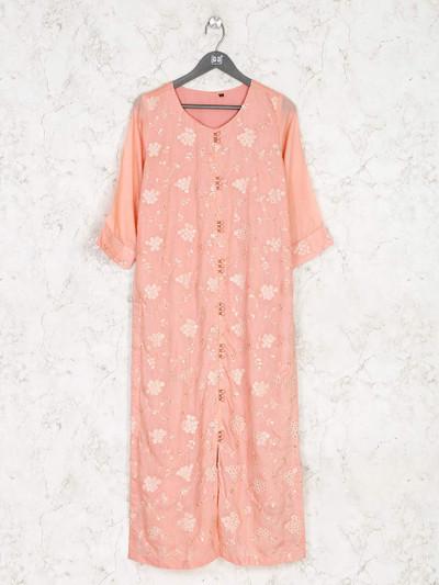 Latest peach cotton kurti for festive wear