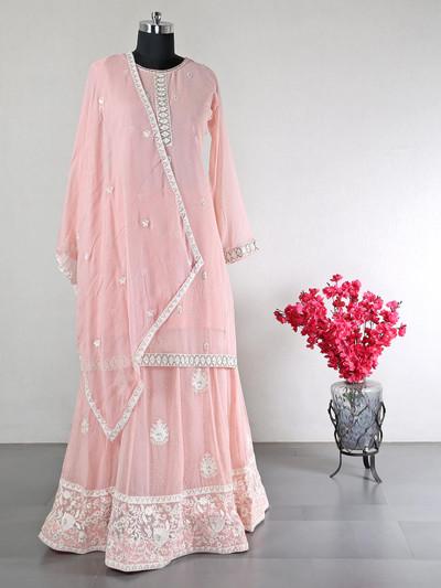 Latest peach georgette party wear lehenga style salwar suit