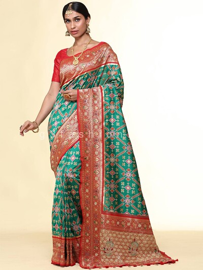 Latest teal green patola silk wedding saree