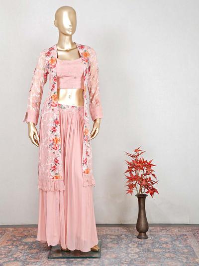 Latest peach raw silk wedding wear salwar kameez