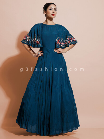 Latest peacock indo western dress in cotton silk for party