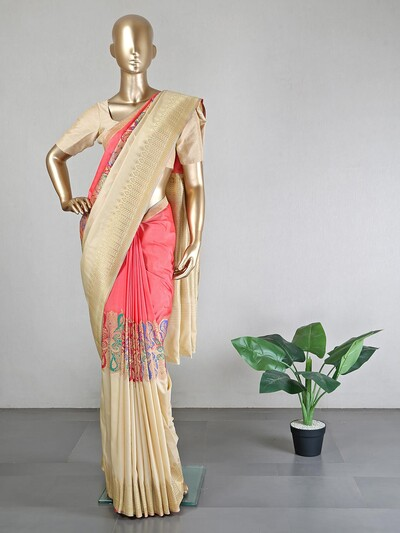 Latest pink and beige muga silk saree with ready made blouse