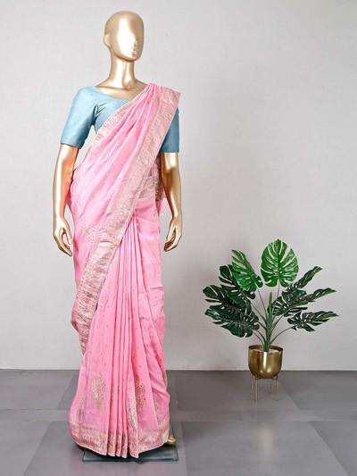 Latest pink cotton silk wedding wear saree