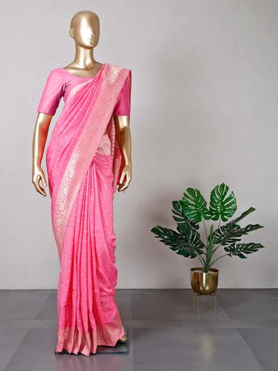 Latest pink designer wedding wear saree in silk