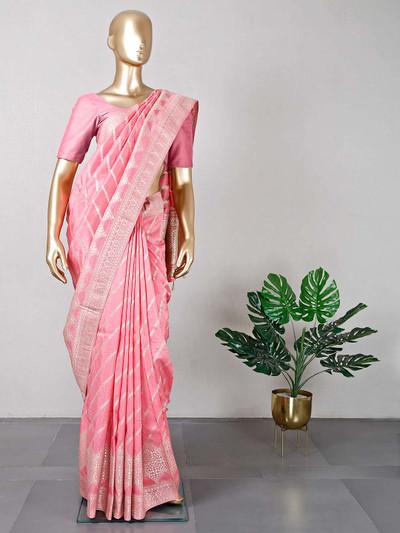 Latest pink dola silk saree for women
