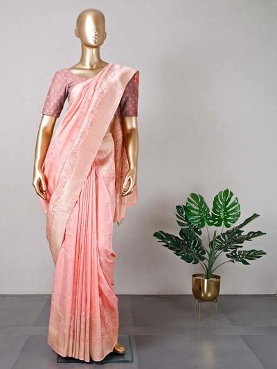 Latest pink muga silk saree for festive functions