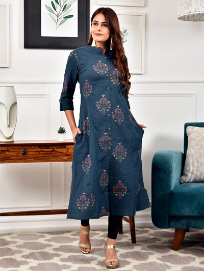 Latest printed casual wear navy kurti in cotton