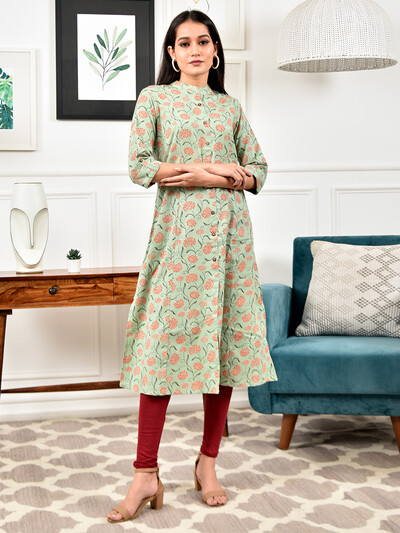 Latest printed casual wear pista green kurti in cotton
