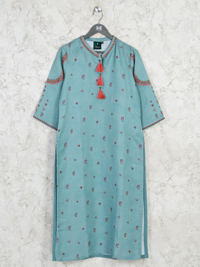Latest printed green cotton kurti for casual outing