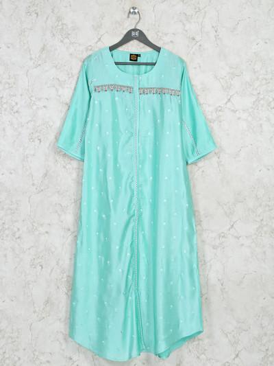 Latest Printed sea green cotton casual kurti