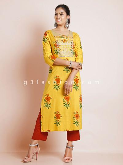 Latest punjabi style mustard yellow printed festive events pant suit