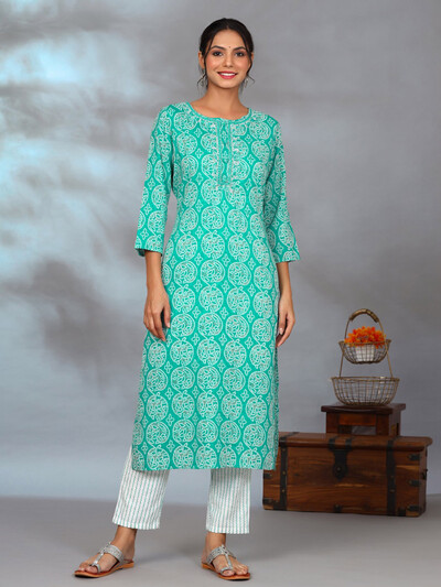 Latest punjabi style sea green printed pant suit