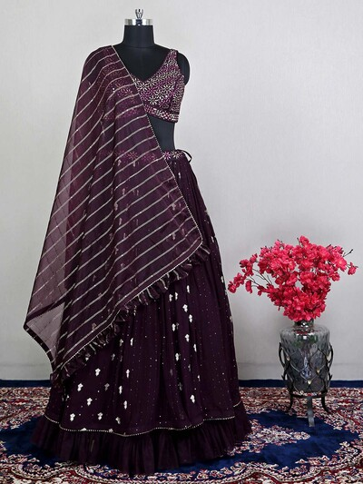 Latest purple colour wedding lehenga choli for womens in georgette