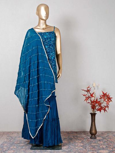 Latest rama blue designer georgette salwar kameez