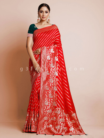 Latest red dola silk wedding wear saree