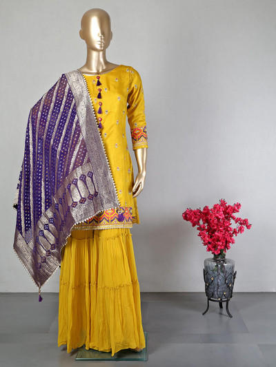 Latest sharara suit for women in yellow