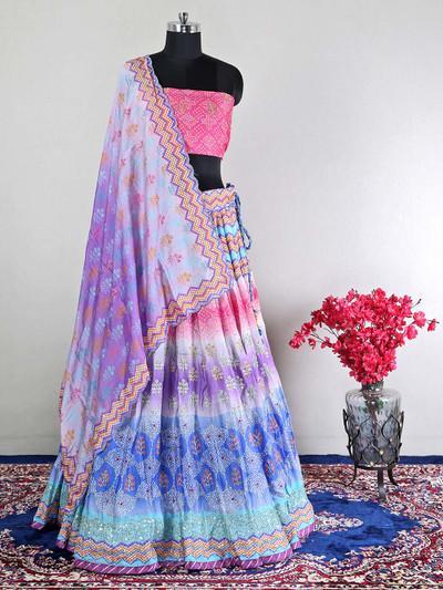 Latest silk blue semi-stitched wedding wear lehenga choli