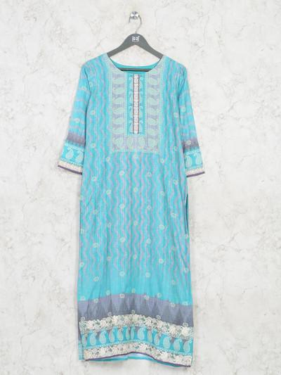 Latest sky blue cotton casual wear kurti