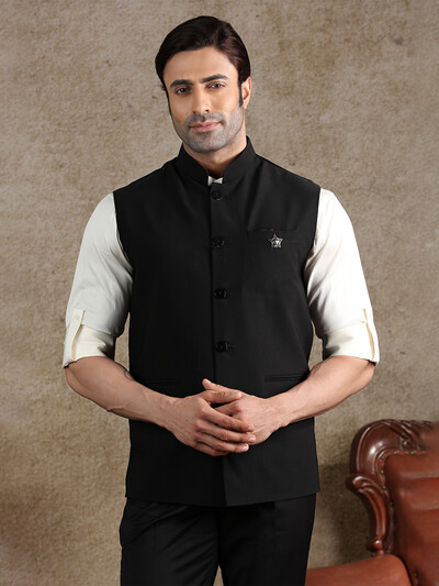 Latest solid black terry rayon party waistcoat
