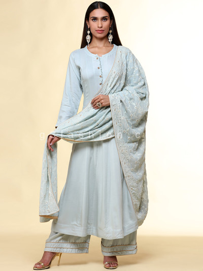 Latest solid cotton anarkali in powder blue for festives