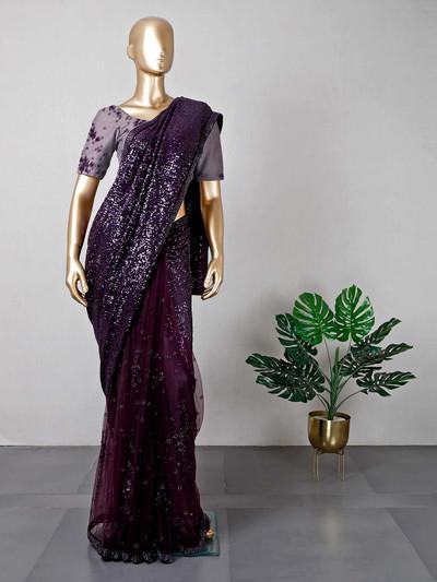 Latest violet net wedding saree