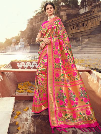 Latest wedding magenta wedding session saree