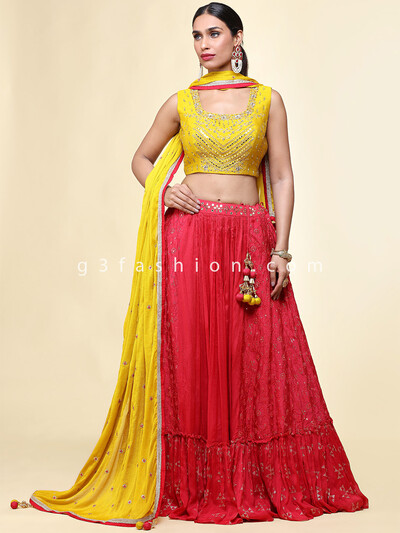 Latest wedding wear yellow rawsilk lehenga choli