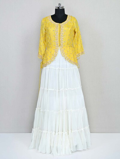 Latest white and yellow georgette wedding lehenga choli