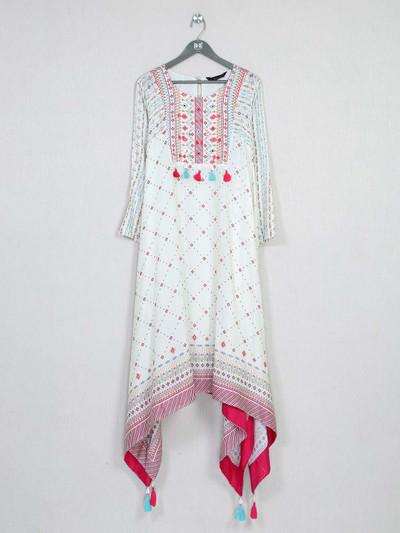 Latest white cotton kurti for festive wear