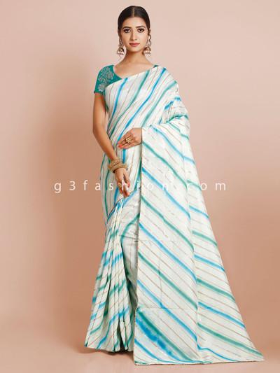 Latest white dola silk saree for wedding functions