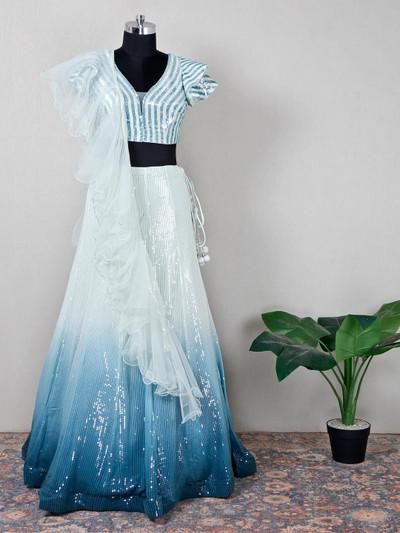 Latest white net lehenga choli for wedding