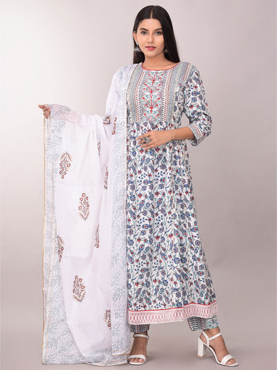 Latest white punjabi style pant suit for women in cotton