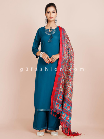 Latest womens palazzo suit in teal blue hue