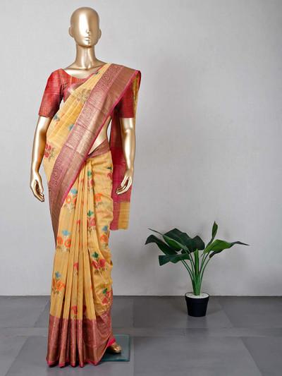 Latest yellow colour cotton festive wear saree