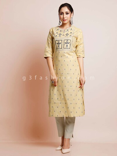 Latest yellow cotton festive wear kurti