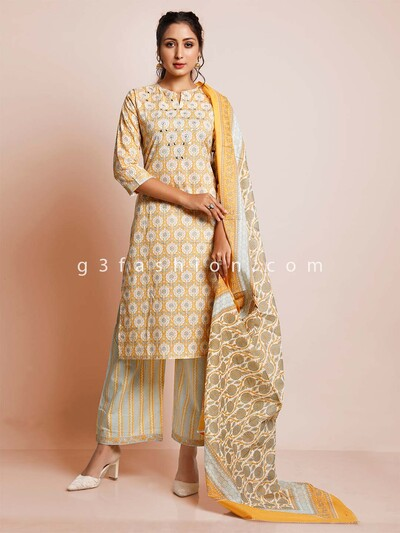 Latest yellow cotton palazzo style sawar suit for festive