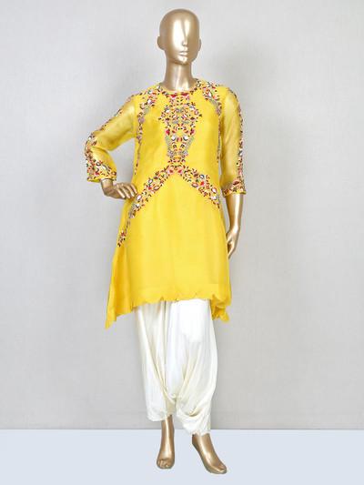 Latest yellow cotton silk wedding wear dhoti suit