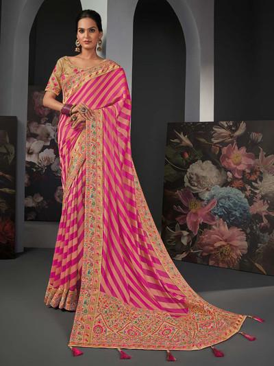 Lavish magenta silk saree for festive fuction