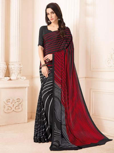 Lavish printed black crepe saree