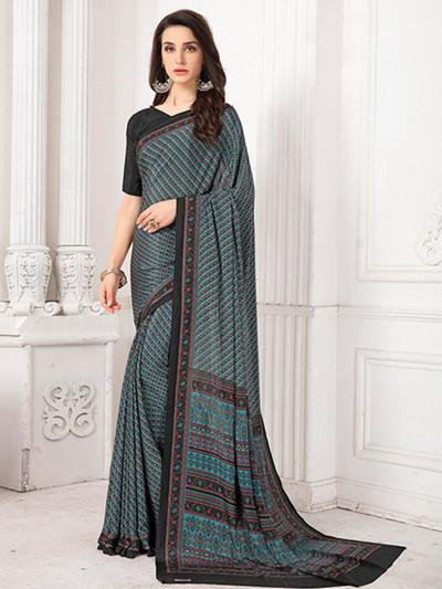 Lavish printed sky blue crepe saree