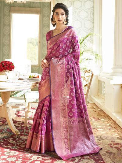Lavish purple banarasi silk saree for wedding functions