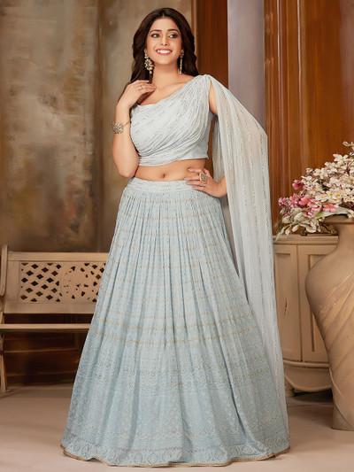 Lavish sky blue georgette party wear lehenga choli