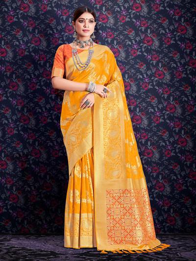 Lavish yellow banarasi silk saree for wedding functions